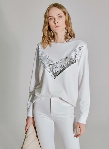 People By Fabrika Payet Detaylı Sweatshirt Beyaz